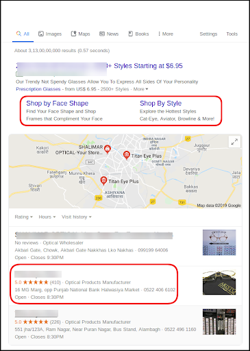 Example of using reviews to improve ad CTRs