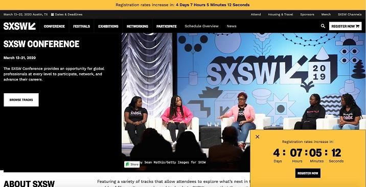 event landing page for SXSW