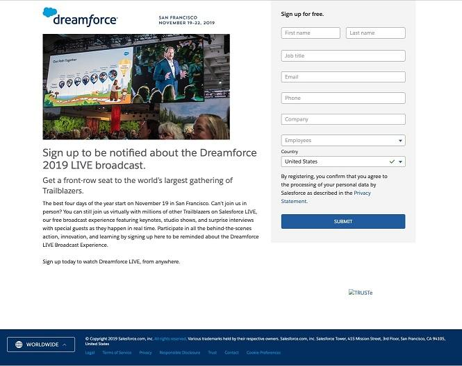 event landing page for Dreamforce live stream