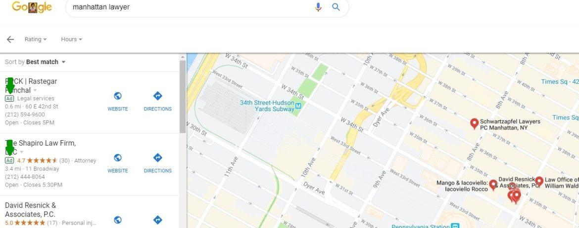 google maps local search ad