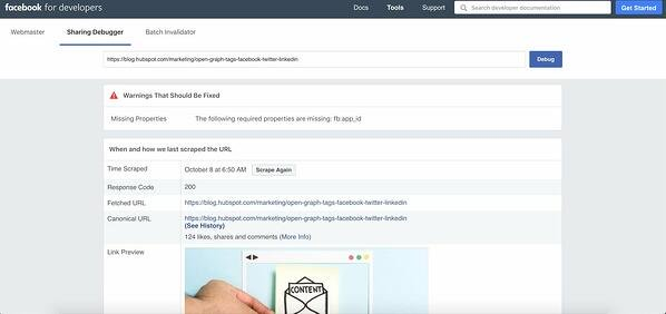 Facebook debugger tool showcases warnings and errors in post.