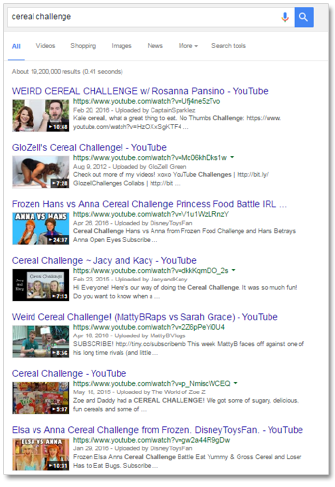 Entertainment video results in Google search