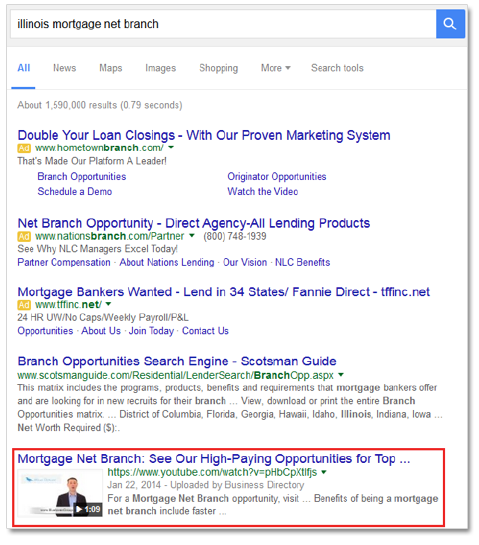 Video SEO result for local business in Google