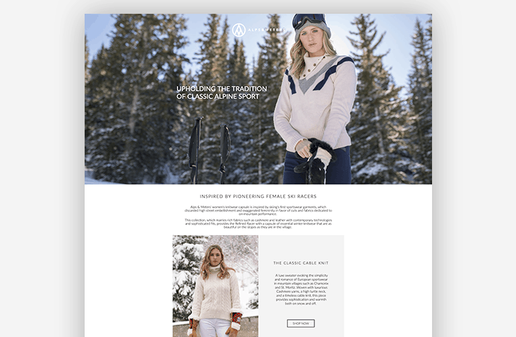 Unbounce Ecommerce Landing Page Lookbook - Alps & Meters