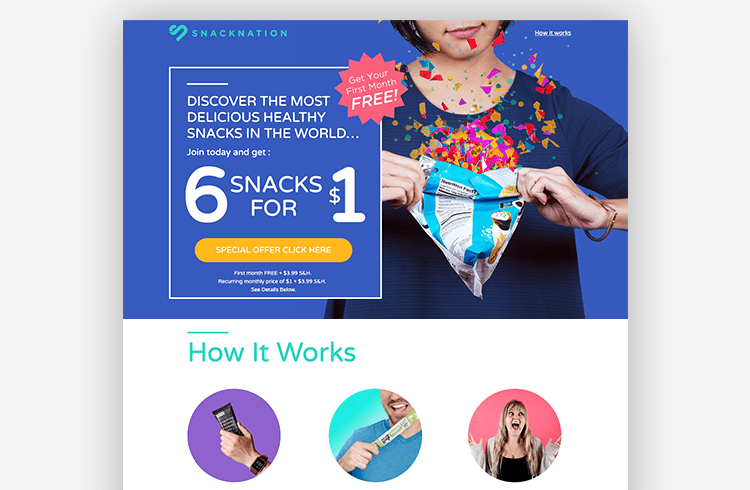 Unbounce Ecommerce Landing Page Lookbook - SnackNation