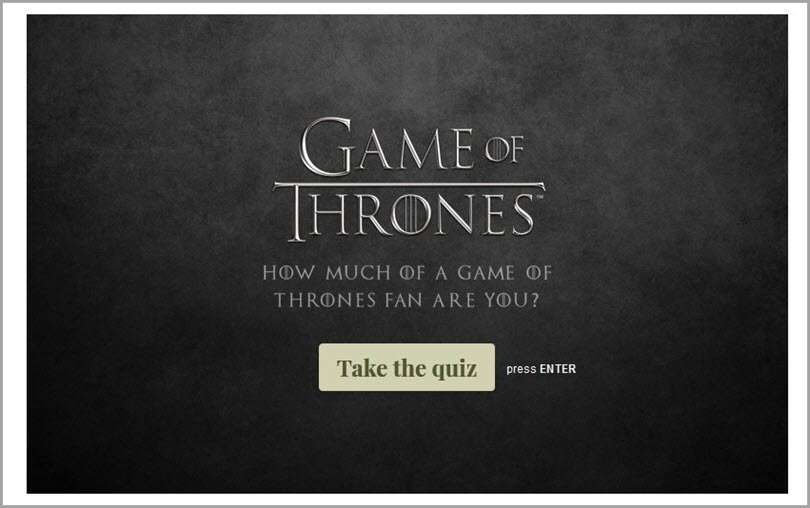 Game of Thrones for personalized quizzes