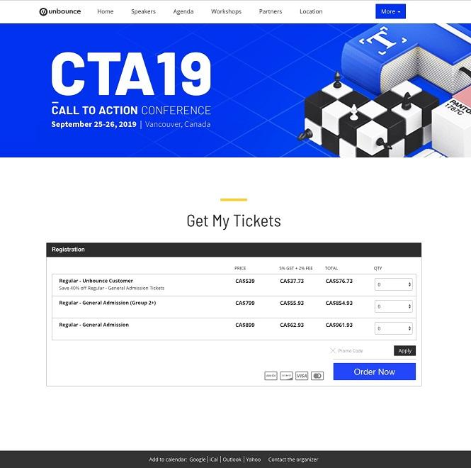 event landing page for CTA19 by unbound