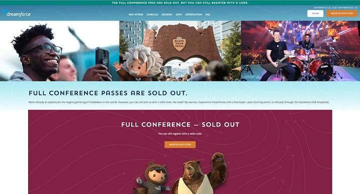 event landing page for Dreamforce