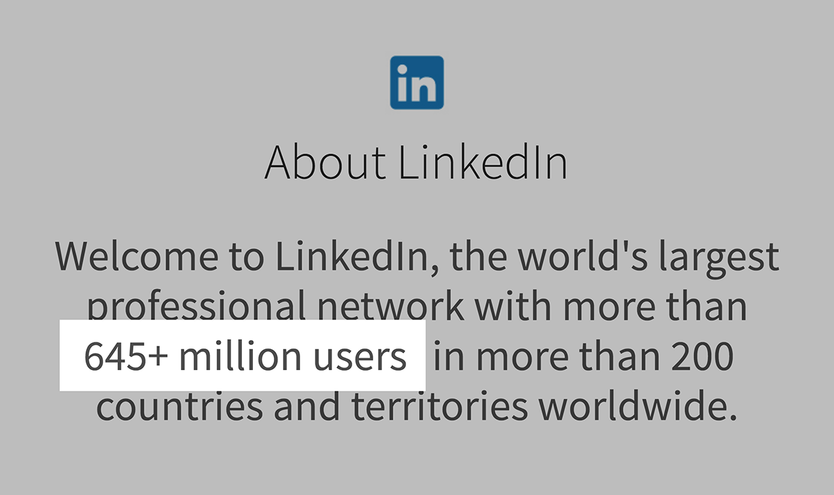 LinkedIn 645 million users