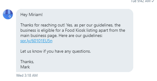 Twitter DM from Google rep: kiosks are able to create listings, as per guidelines