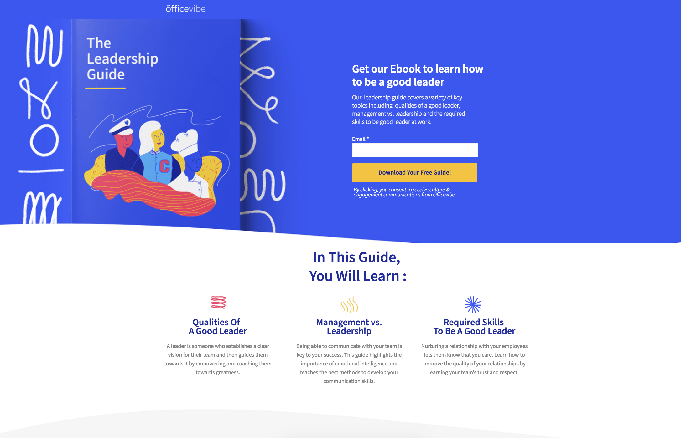 A regular squeeze page example from Officevibe
