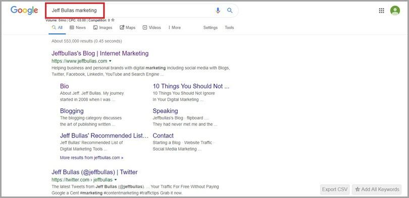 Branded Traffic like Jeff Bullas Marketing for social media and seo