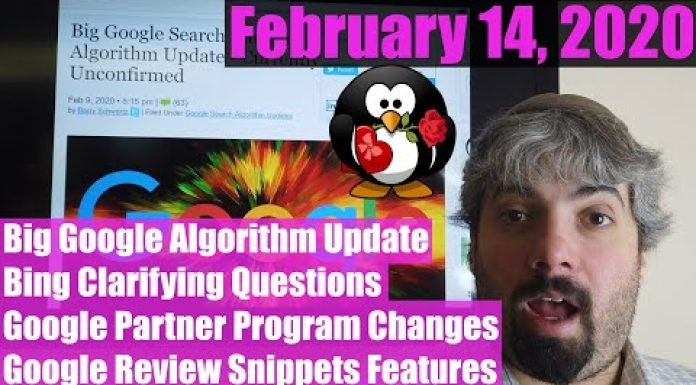 Google February Search Update; Local Update & Keywords, Bing Clarifying Questions, Review Snippets & Google Partner Program Changes