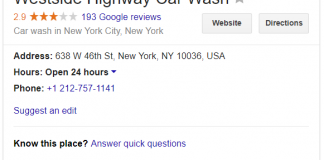 Example Google My Business knowledge graph for a car wash