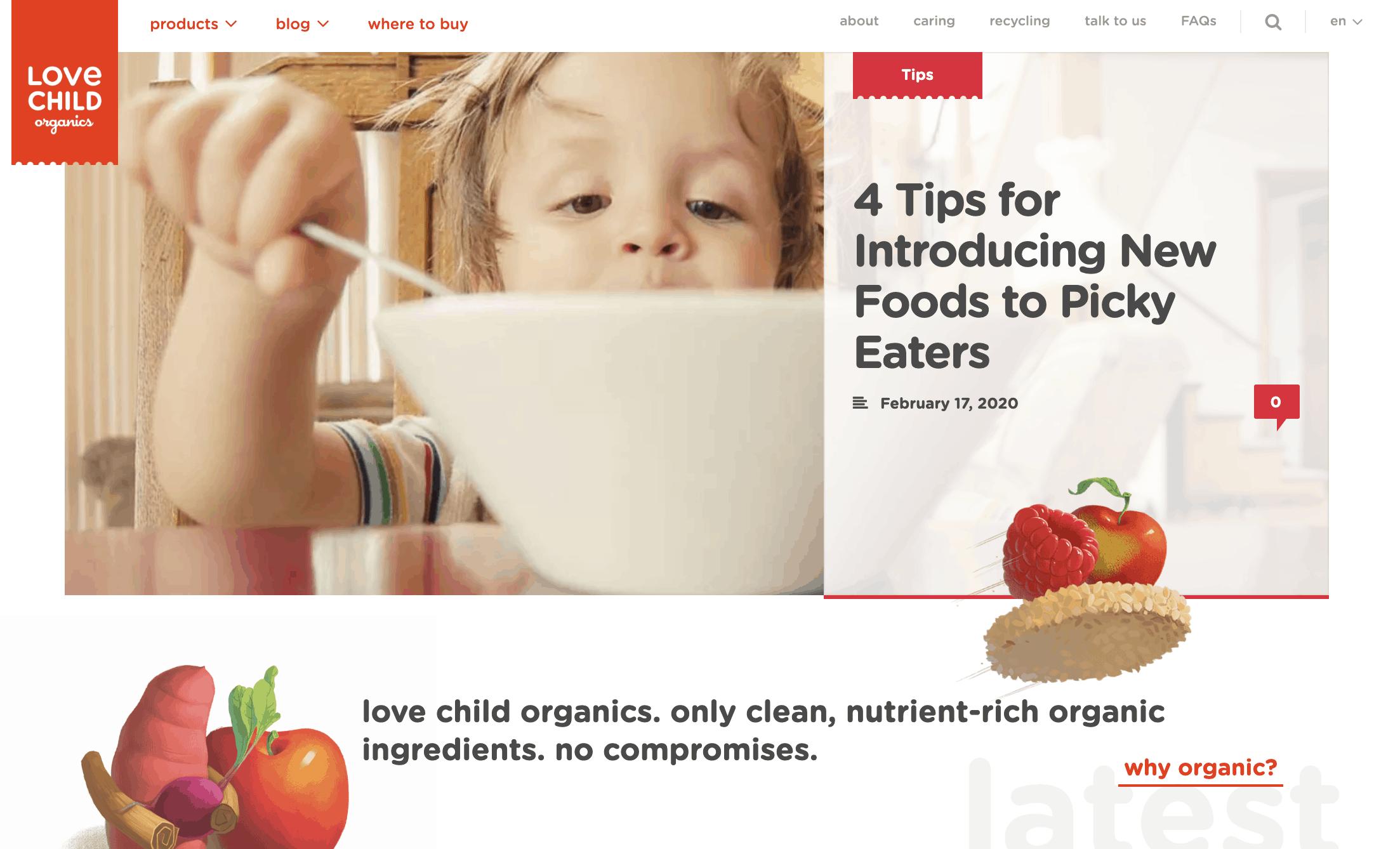 A screenshot of the Love Child Organics homepage