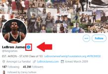 Twitter verified Lebron James