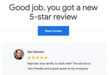 Google Reviews notification