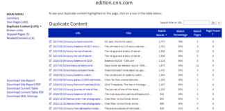 Siteliner - Duplicate Content