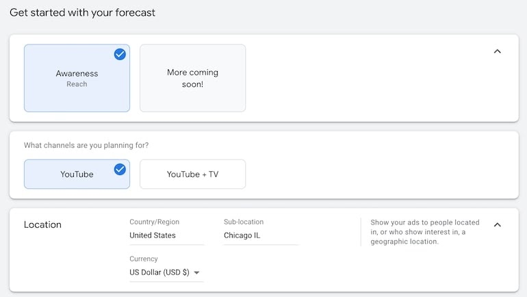 Google Ads reach planner forecast settings