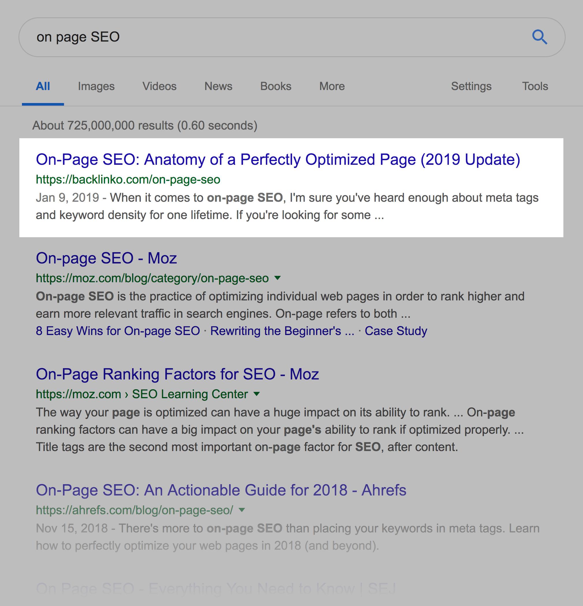 """on page SEO"" SERPs"