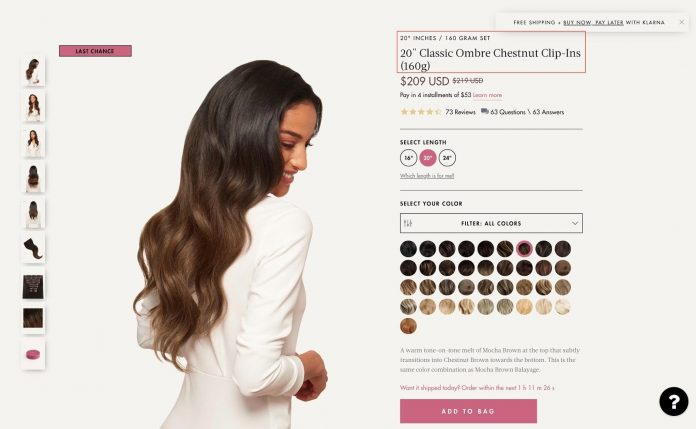 An excellent example of a product page from LuxyHair.