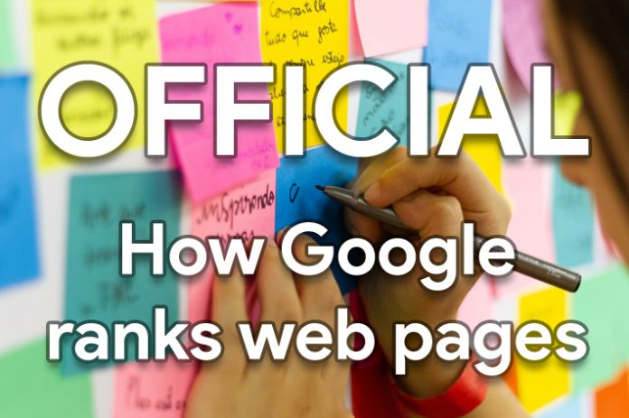 Official: How Google ranks web pages